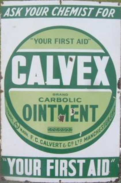 Calvex Ointment Tin Enamel Sign