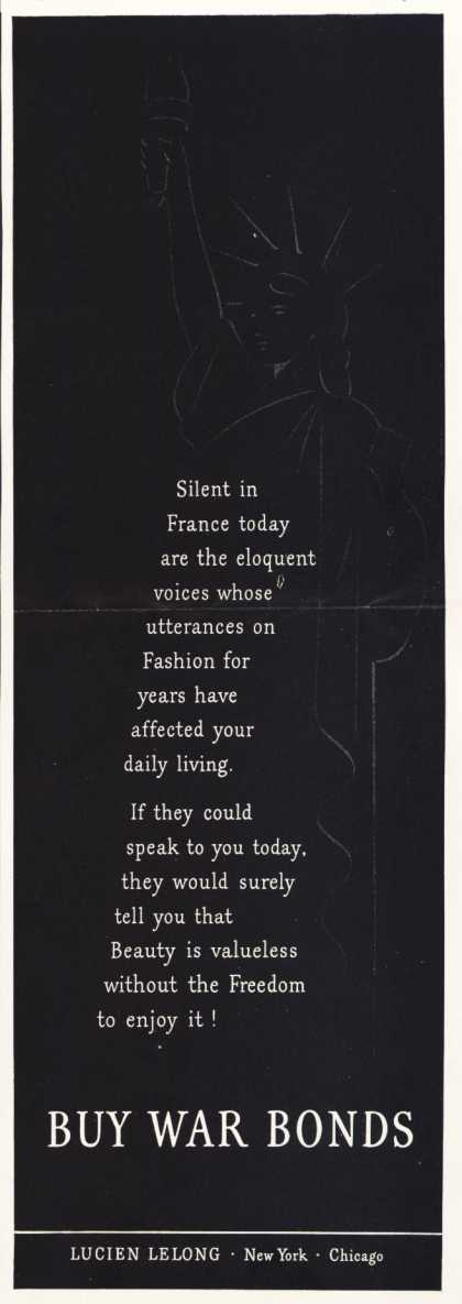 Lucien Lelong's War Bonds – Silent in France today (1943)