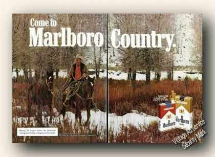 Marlboro Cigarettes Cowboy Winter Advertising (1975)