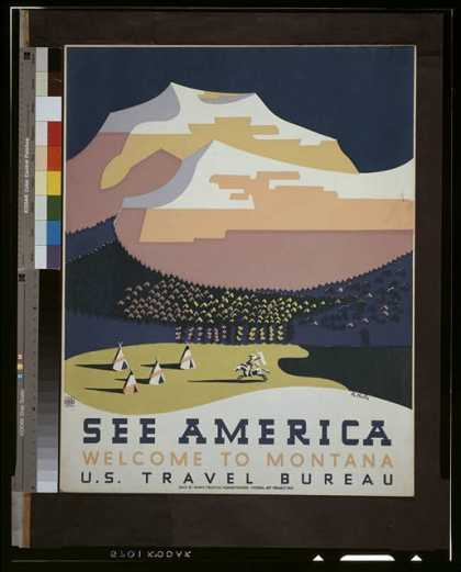 See America – Welcome to Montana / R. Halls. (1936)
