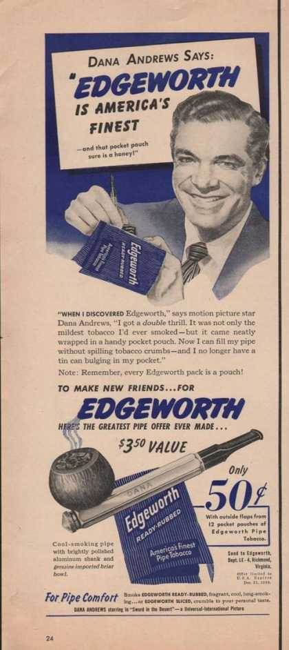 Edgeworth Pipe Tobacco Dana Andrews (1949)