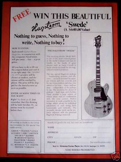 Win a Hagstrom Swede Guitar Offer (1975)