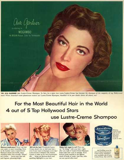 Kay Daumit's Lustre-Creme Shampoo – For the Most Beautiful Hair in the World 4 out of 5 Top Hollywood Stars use Lustre-Creme Shampoo (1953)