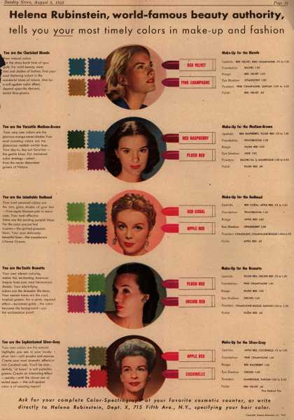 Helena Rubinstein's H. Rubinstein's Color-Spectrograph approach – Helena Rubinstein, World Famous Beauty Authority, Tells You Your Most Timely Colors in Make-up and Fashion (1945)