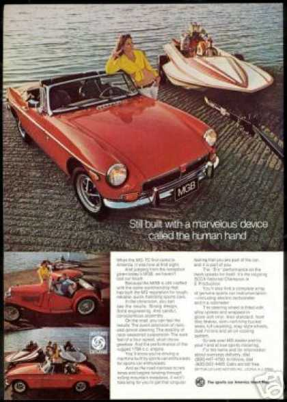 Red MGB Photo Drag Boat Vintage Print Car (1973)