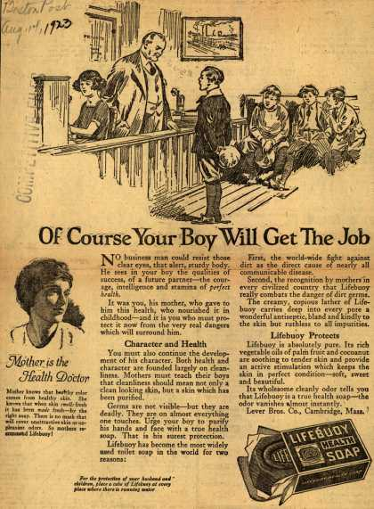 Lever Brothers Company's Lifebuoy Health Soap – Of Course Your Boy Will Get The Job (1923)