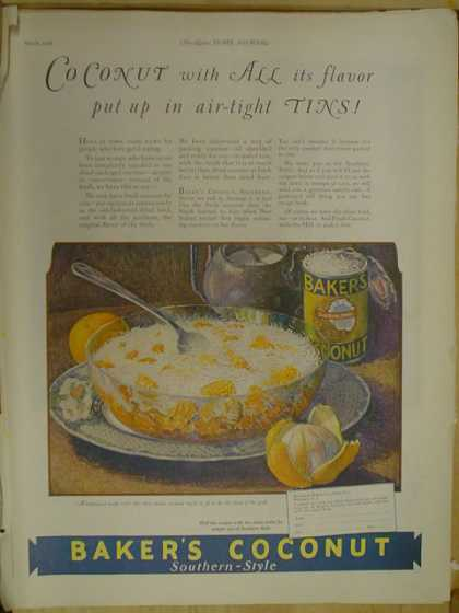 Bakers Coconut Southern Style. In airtight tins (1926)