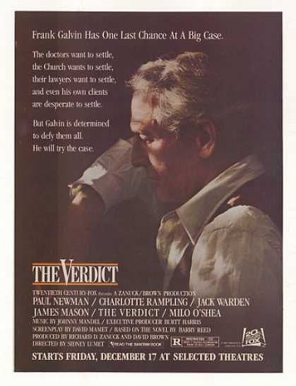 Paul Newman The Verdict Movie Photo (1982)