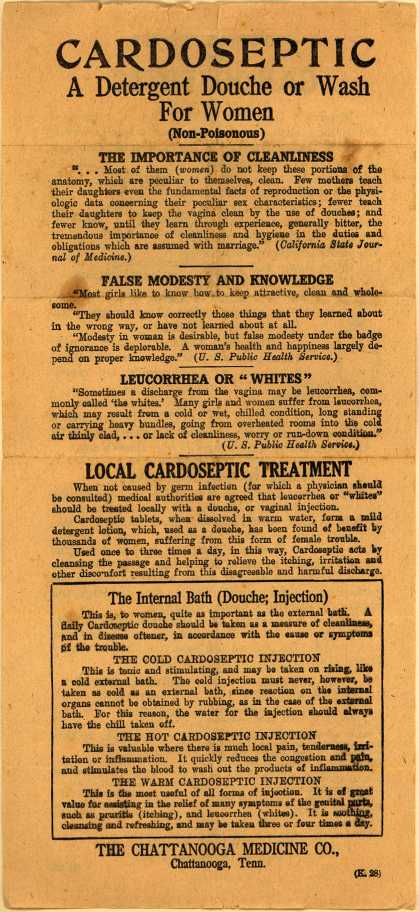 Chattanooga Medicine Co.'s Cardoseptic – Cardoseptic: A Detergent Douche or Wash for Women