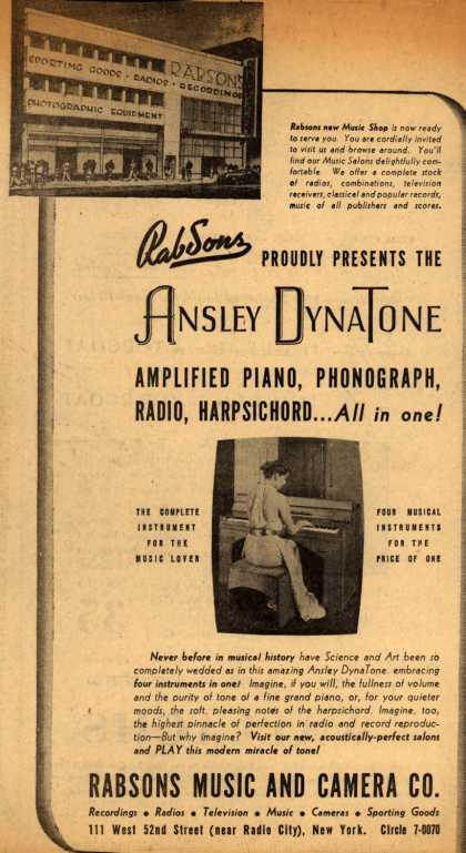 Ansley – Rabsons proudly presents the Ansley DynaTone: Amplified piano, phonograph, radio, harpsichord... all in one (1939)