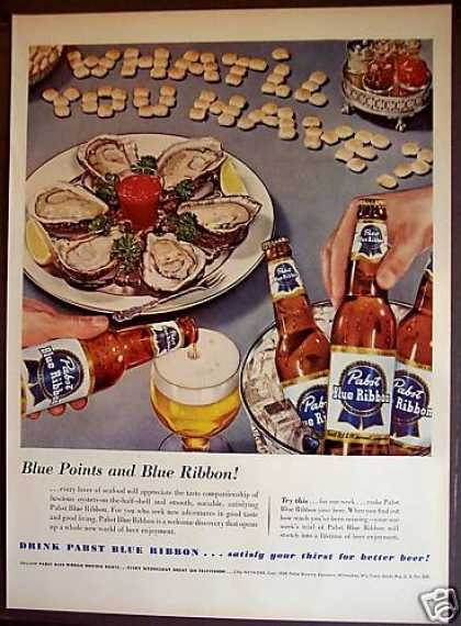 Pabst Blue Ribbon Beer Oysters (1953)