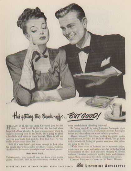 Listerine Antiseptic – He's getting the brush off... (1947)
