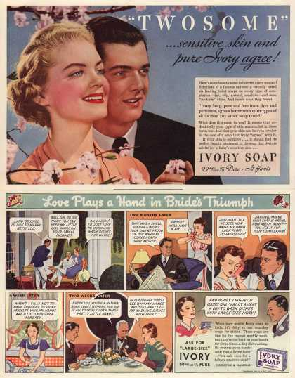 "Procter & Gamble Co.'s Ivory Soap – ""TWOSOME""...sensitive skin and pure Ivory agree (1937)"