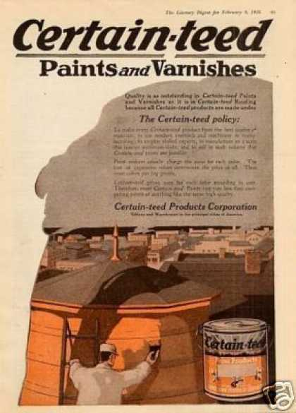 Certain-teed Products Color Ad 2 Page (1918)