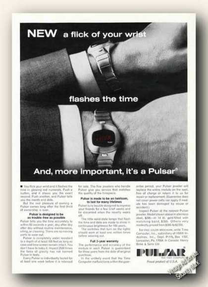Pulsar Wristwatches Flick of Your Wrist (1975)