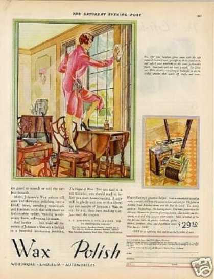 Johnson's Wax Polish Color Ad 2 Page (1929)