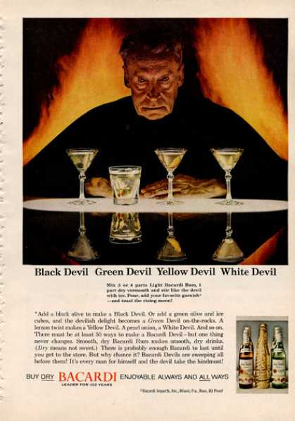 Bacardi Rum Black White Yellow Green Devil (1964)