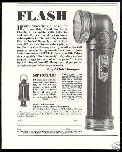 Official Boy Scout Flashlight Photo Vintage (1939)