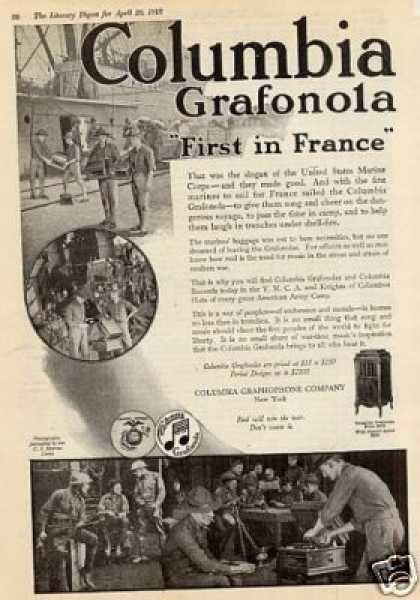 "Columbia Grafonola Ad ""First In France... (1918)"