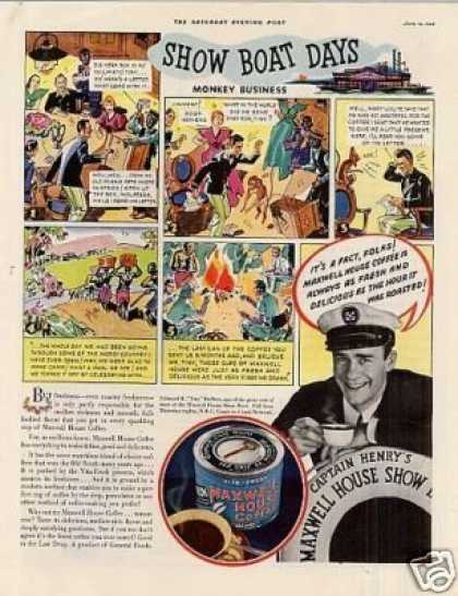 "Maxwell House Coffee Color Ad ""Show Boat Days... (1935)"