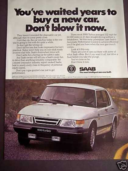 Saab 900 Don't Blow It Now White Car (1989)
