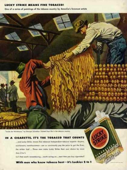 Lucky Strike Tobacco Shed Art Cigarette (1942)