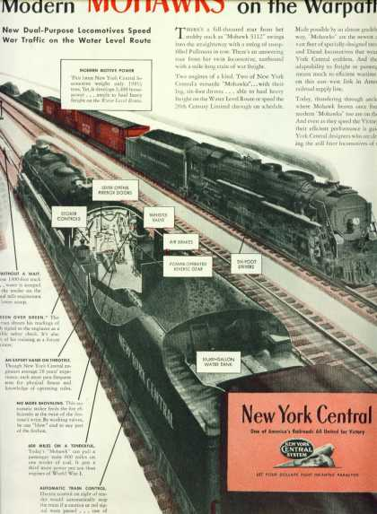 New York Central C Ad Modern Mohawks On Warpath (1943)