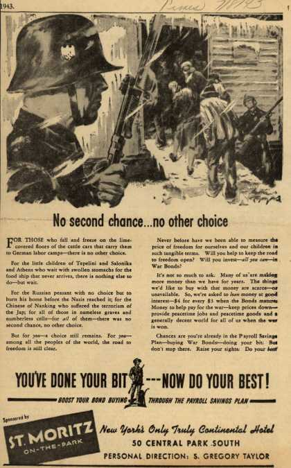 U. S. Government's War Bonds – No second chance... no other choice (1943)
