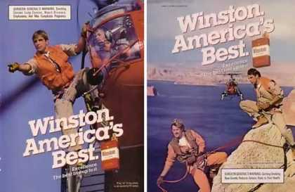 Winston Cigarettes Ads – Rock Climbers Set of 2 (1986)