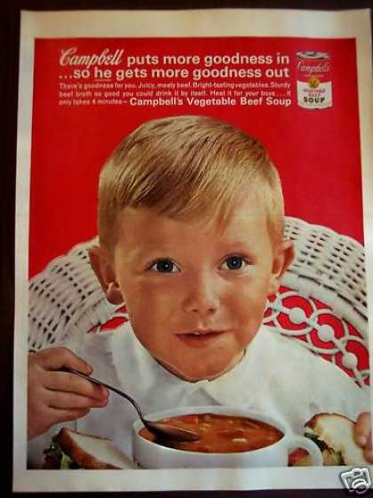 Little Boy Eating Cambell's Vegetable Beef Soup (1962)