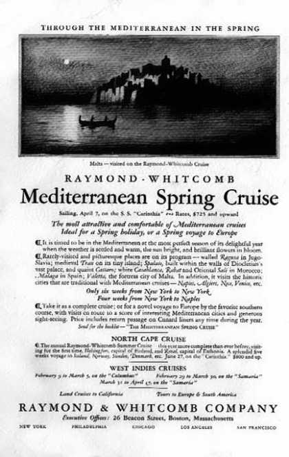 Mediterranean Spring Cruise – Raymond Whitcomb, Boston (1928)