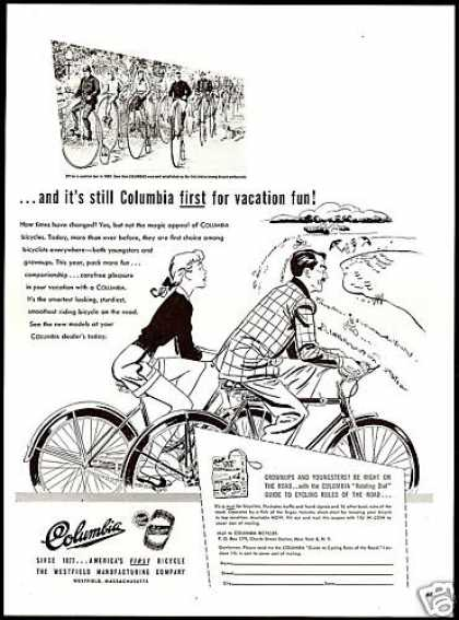 Columbia Bike Bicycle 1880 Vacation Tour Today (1947)