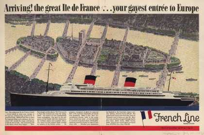 French Line's new ship – Arriving! the great Ile de France...your gayest entree to Europe (1949)