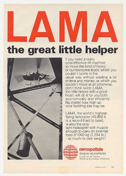 Aerospatiale LAMA Helicopter Photo (1973)