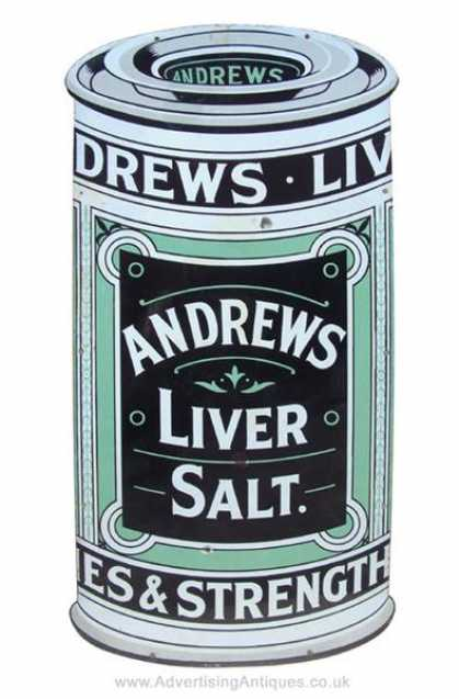 Andrews Liver Salts Cutout Tin Enamel Sign