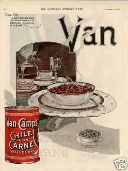 Van Camp's Chili Con Carne Color Ad 2 Page (1923)