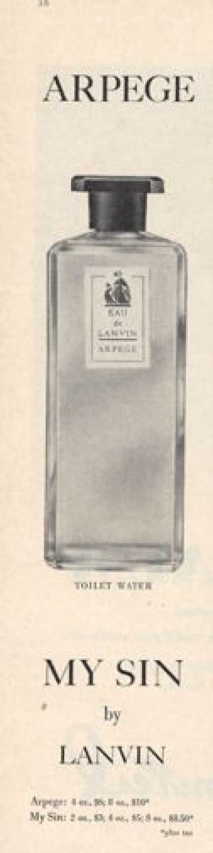 Arpege My Sin Lanvin Bottle (1952)