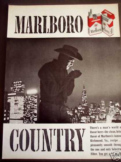 Marlboro Cigarettes Cowboy & City Skyline (1963)