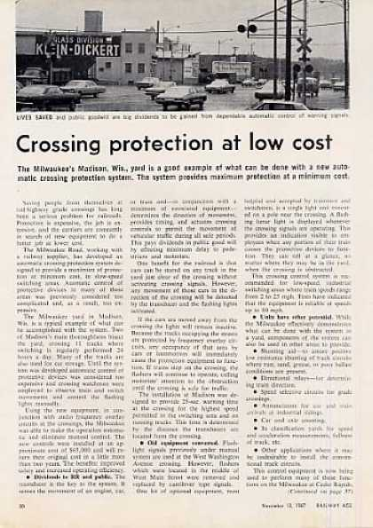 """Crossing Protection at Low Cost"" Article/milw (1967)"