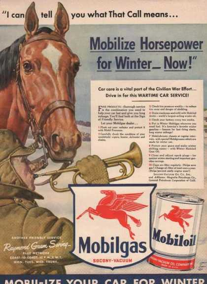 Horsepower for Winter Mobil Gas & Oil (1942)