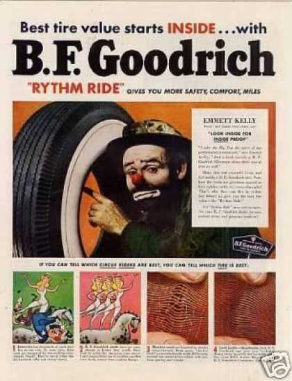 B.f. Goodrich Tire Ad Emmett Kelly (1950)