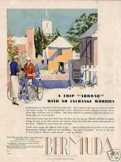 Bermuda Travel Color Ad Adolph Treidler Art (1934)