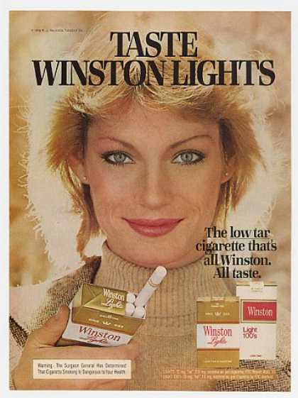 Taste Winston Lights Cigarette Lady Smoker (1978)