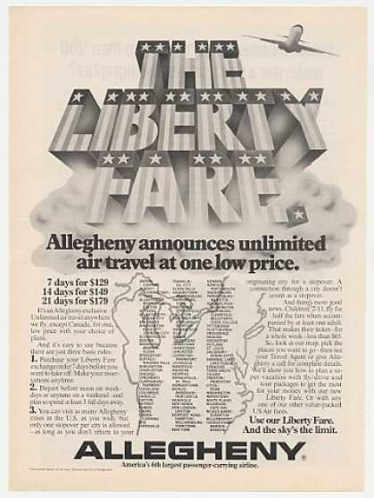 Allegheny Airline Liberty Fare Unlimited Travel (1975)