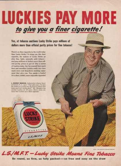 Lucky Strike Cigarette Murray Mangum (1949)