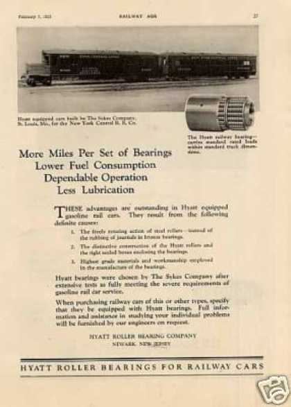 Hyatt Ad New York Central Sykes Motor Car M1201... (1925)