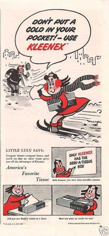 Little Lulu Kleenex Skiing Print (1948)