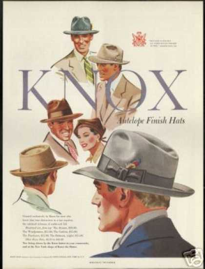 Knox Vintage Antelope Finish Hat Art (1950)
