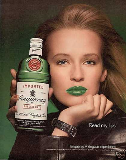 Tanqueray Gin Bottle Read My Lips Photo (1989)