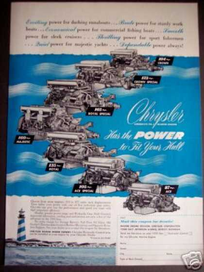 Chrysler Marine Boat Ship Engines Motors (1950)